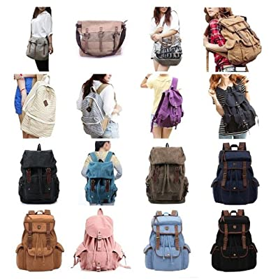 Zicac & Koolertron unisex vintage bag classic backpack casual canvas bag travel school shoulder Bag Bookbag messenger bag Portable Carry Case for Sony Canon Nikon Olympus DSLR ipad 2 ipad 3 mini ipad Google NEXUS 10 SamSung Galaxy Note 10.1 N8000 Microsof