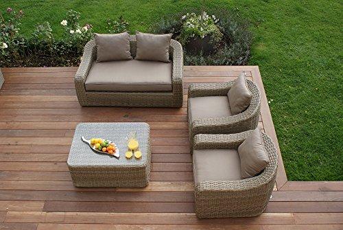 Aston 2-Sitzer-Sofa, Rattan-Gartenmöbel-Set, runder Kissen Beige