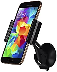 LUXA2 Smart Clip Universal Car Mount Holder for iPhone 6 (4.7)/ 5s/ 5c/4s, Galaxy S4/S3//S2. HTC One and 6-Inch Device - Retail Packaging - Black