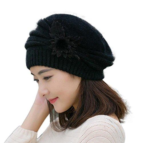 overdose-femmes-chapeau-de-fleurs-en-tricot-bonnet-crochet-hiver-chapeau-chaud-beret-noir
