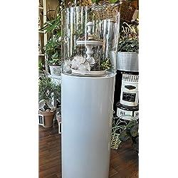 Windlicht Säule weiss Metall mit Glas - TOLLE QUALITÄT - Deko Säule - 130 cm