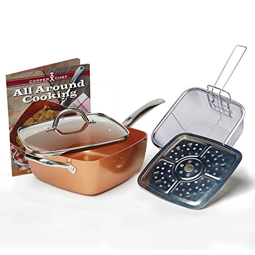 Tristar Products 4 Piece Chef Pan with Glass Lid, Copper (Red Pans And Pots compare prices)