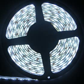  HitLights Waterproof LED Flexible Cool White Lighting Strip, SMD3528, 300 LED, 5 Meter or 16 Ft, 24 Watt, 12 Volt