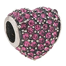 Love Heart Paved Austrain Crystal Pink October Birthstone Bead Fits Pandora Charms