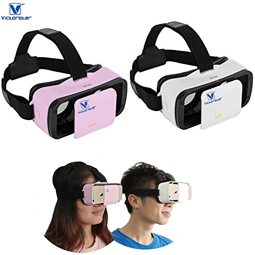 VICTORSTAR@ MINI VR BOX SET with Rechargable Remote Controller /Mini VR 3D Glasses /VR Helmet,Portability 174g with Adjustable Pupil and Focal Distance For 4.5 to 5.5 Inch Smartphones (White+Pink)