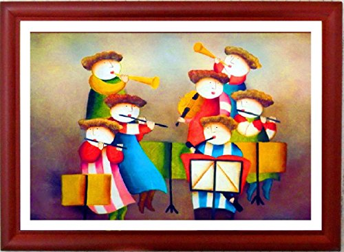 """Cute Choir"" Framed Fine Art Print In Natural Wood Frame With Glass, Modern Style Artsy Design Framed Picture Contemporary Design Of Popular Artwork Cute Kids Choir, Perfect Artwork For Kids Room Very Popular Print Both By Child And Parents, Based On Famo"