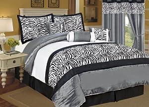 11 Pc Flocking Zebra Satin Comforter Set+Window Curtain Queen Grey/Black/White