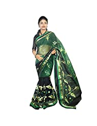 ABSTRA Women's Green And Black Cotton Golden Emboidery With Heavy Patch Thread Work Bengal Tant Saree