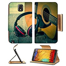 buy Luxlady Premium Samsung Galaxy Note 3 Flip Case Headphones With Acoustic Guitar Vintage Retro Image 33251616 Pu Leather Card Holder Carrying