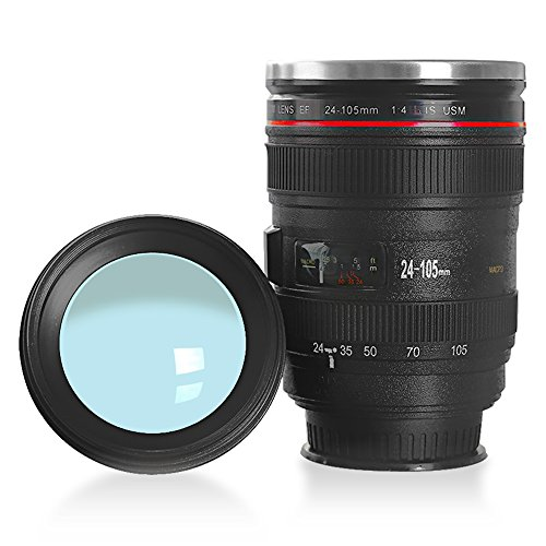 Camera Lens tazza di caffè con il pollone, LanChuon Interni in acciaio inox Tumbler Cup - il regalo freddo Canon EF 24-105mm f / 4L IS USM