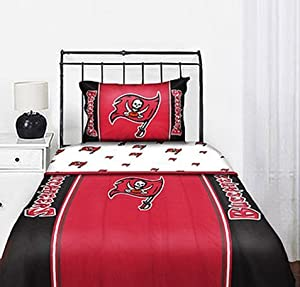 Tampa Bay Buccaneers NFL Twin Comforter & Sheet Set (4 Piece Bedding) by NFL