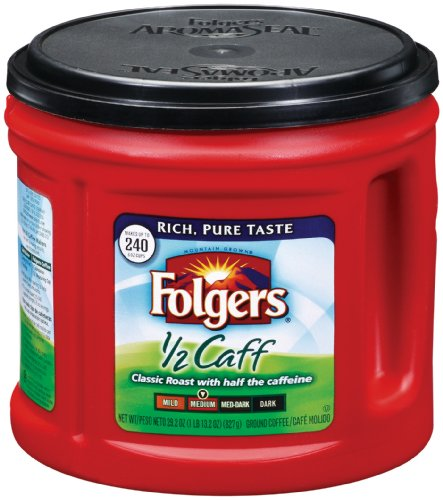 Folgers Half Caff Coffee, 29.2 Ounce (Pack of 6)