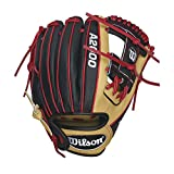 Wilson A2000 DP15 SuperSkin Infield Baseball Glove, Blonde/Red/Black/White, Right Hand Throw, 11.5/Blonde/Red/Black/White