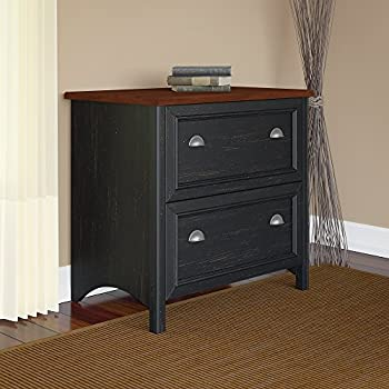 Bush Furniture Stanford 2 Drawer Lateral File Cabinet in Antique Black and Hansen Cherry
