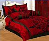 7 PC Luxury Burgundy/Red/Black Flocking Faux Silk - KING SIZE DUVET COVER SET