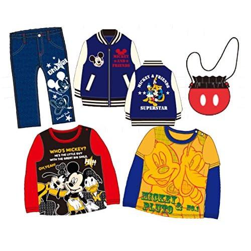 【2015年福袋】【Disney】ミッキーマウス サテンスカジャン、長袖トレーナー、長袖Tシャツ、パンツ、フリースバッグ/入り5点いり福袋【319f1】80cm ワンカラー