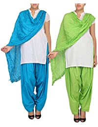 Womens Cottage Women's Combo Pack Of 2 Pure Solid Cotton Semi Patiala Salwar & Cotton Dupatta Stole With Lace - B01C46Y01M