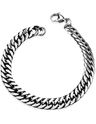 YELLOW CHIMES Tough Style Silver Stainless Steel Chain Designer Bracelet For Men And Boys