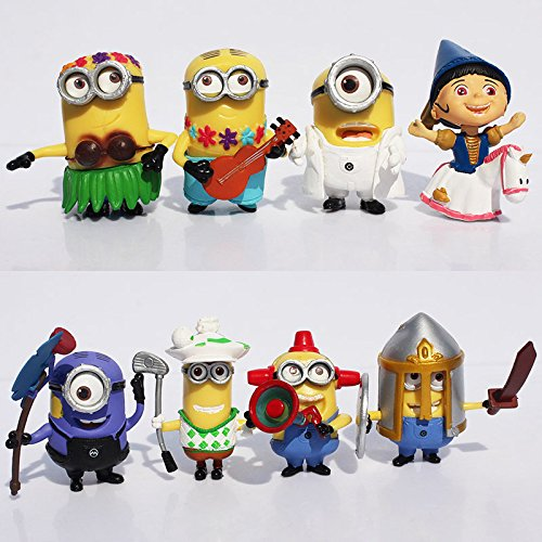 Bossel Set of 8pcs Despicable Me 2 Minion Figures Doll Cute Toys Gift For Children