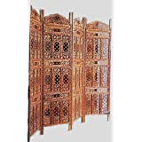 Aarsun: Hand-carved Wooden Partition Screen/ Room Divider In Mango Wood 0805