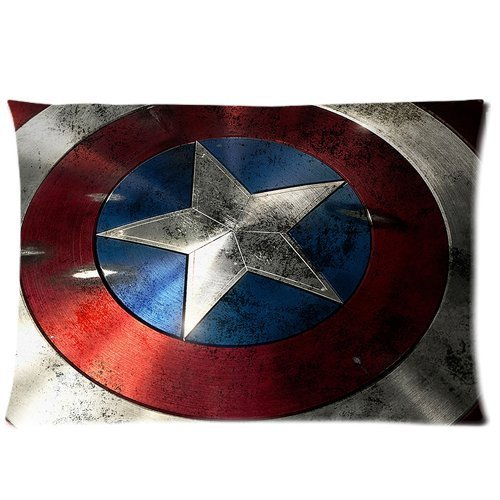 Generic Custom Cartoon Marvel Comics Superhero Series Captain America Shield Printed Zippered Pillowcase Cushion Cover 20*30(Twin Sides) front-1004146