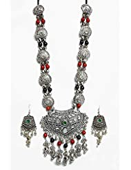 DollsofIndia Metal Necklace With Gorgeous Pendant And Earrings - White Metal - White - B00RHSQ19C
