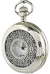 Youyoupifa Stainless Steel Case White Dial Vintage Design Pocket Watch with Chain (Silver)