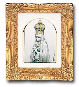 "Antique Gold Leaf Frame w/ OL Our Lady of Fatima 4 1/2"" Religious Icon Wall Art Picture Image Gift New"