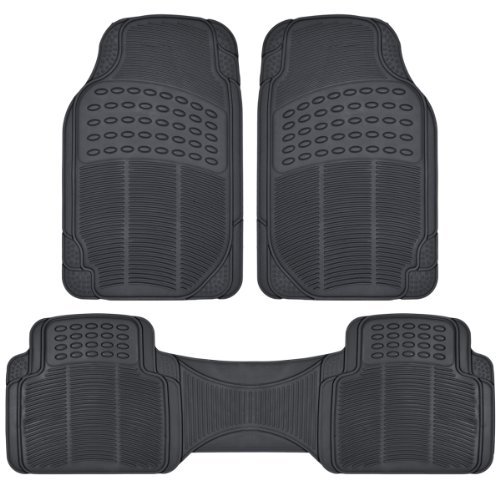 Bdk 3Pc Ridged Heavy Duty Rubber Floor Mats, Universal Fit, Mt-783 (Bdk Black) front-620860