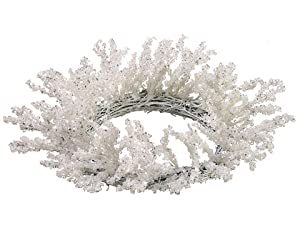 "12"" Snow Drift Silver Glittered Iced Winter White Christmas Candle Ring Wreath"