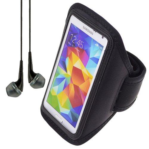 Black Adjustable Workout Sports Armband For Samsung Galaxy S5 V / S4 Iv / S3 Iii + Vangoddy Headphone With Mic , Black