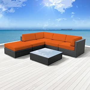 Luxxella Outdoor Patio Beruni Sofa Sectional Furniture 6pc All Weather Wicker Couch Set (Orange) from Luxxella