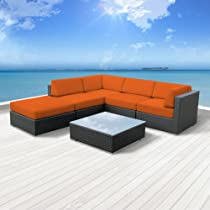 Hot Sale Luxxella Outdoor Patio Wicker BERUNI Orange Sofa Sectional Furniture 6pc All Weather Couch Set