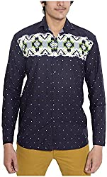 Oshano Men's Casual Shirt (OSH_035_xl, Blue, xl)