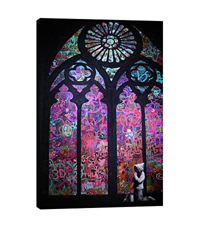 Banksy by 5By5Collective Stained Glass Window Purple & Blue Canvas Print