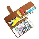 iPhone 6 & Plus 手帳型 レザー ウォレット ケース 3役こなす カバー 財布 スタンド (iPhone6用ブラウン)