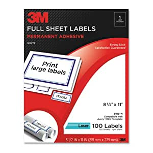 3M Permanent Adhesive Full Sheet Labels, 8.5 x 11 Inches, White, 100 per Pack (3100-M)