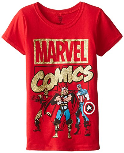 Marvel Big Girls' Iron Man Thor and Captain America Tee