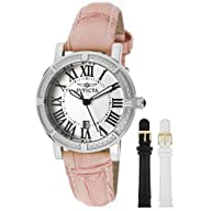 Invicta Women's 13967 Wildflower Watch Set Silver Dial Pink Leather Watch with 2 Additional Straps