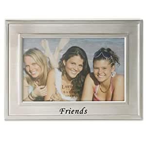 Lawrence Frames Brushed Metal 4 by 6-Inch Friends Picture Frame, Sentiments Collection
