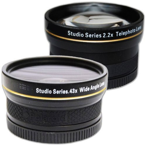 "Plr Studio Series .43X High Definition Wide Angle Lens With Macro Attachment + Plr Studio Series 2.2X High Definition Telephoto Lens Travel Kit Micro"" 4/3 Zoom Olympus Lens"