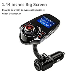 Rymemo 2016 Newest Wireless Bluetooth Fm Transmitter Radio Adapter Handsfree Car Kit Car Mp3 Player for Car Music Control and Hands-free Call with USB Car Charger, Red-black