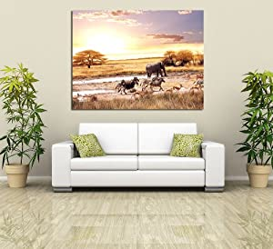 """African Wildlife At Sunset Canvas Wall Art Animal Landscape Scene Photo Stretched Canvas Picture Print 24"""" X 16"""""""" from ART FEVER"""