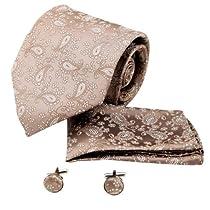 H5183 Brown Paisley For Designer Silk Ties Cufflinks Hanky Set 3PT By Y&G