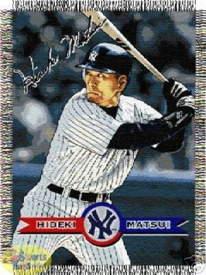 Hideki Matsui New York Yankees MLB Woven Tapestry Throw blanket (48