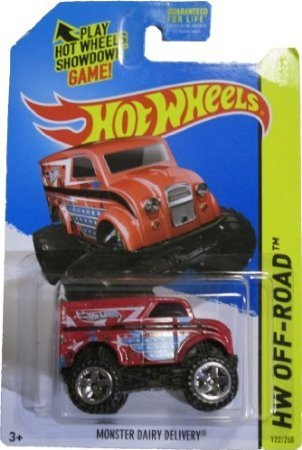Hot Wheels 2014 Hw Off-Road Daredevils Red Monster Dairy Delivery 122/250 - 1
