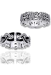 Mammen Weave Viking Knot Wedding Band Norse Celtic Sterling Silver Ring(Sizes 4,5,6,7,8,9,10,11,12,13,14,15)