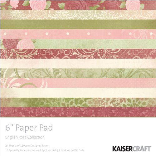 Kaisercraft English Rose Designed Paper Pad, 6-Inch by 6-Inch, 40 Sheets