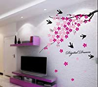 StickersKart Wall Stickers Pink Flower Branch with Birds (Multi-Colour, 150cm...-936