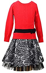 Bonnie Jean Big Girls' Cable-Knit Dress with Lace Skater Skirt, Red/Black, 7 - 16